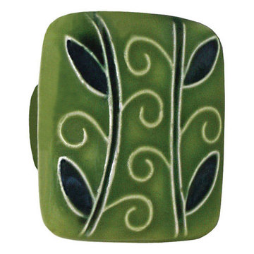 Acorn Square Hand Painted Porcelain Knob - Dark Green With Two Branches