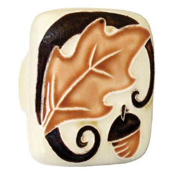 Acorn Square Hand Painted Porcelain Knob - With Brown Leaf And Acorn