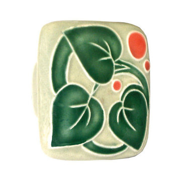 Acorn Square Hand Painted Porcelain Knob - With Three Leaves And Berries