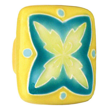 Acorn Square Hand Painted Porcelain Knob - Yellow And Teal With X Design