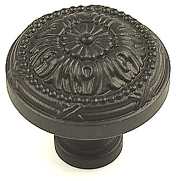 Century Hardware Georgian Flower Large Solid Brass Knob - 1 1/2 Inch