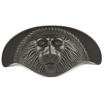 Century Hardware Roman Lion Solid Brass Cup Pull - 3 Inch