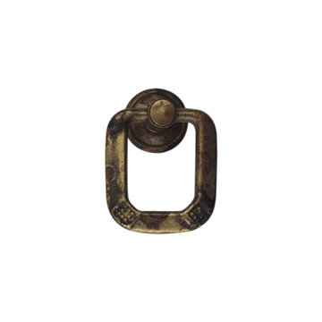 Classic Hardware 1800 Circa Single Squared Brass Drop Pull