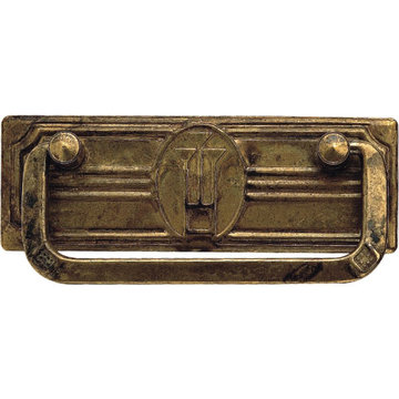 Classic Hardware Jugendstil Brass Drop Pull With Backplate