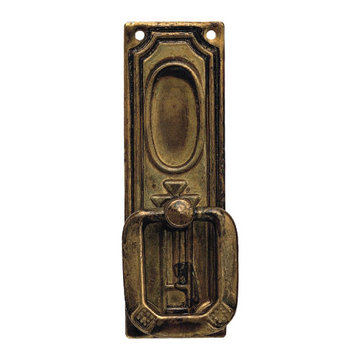 Classic Hardware Jugendstil Vertical Brass Drop Pull With Backplate
