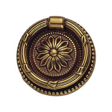 Classic Hardware Louis Xvi Floral Brass Ring Pull