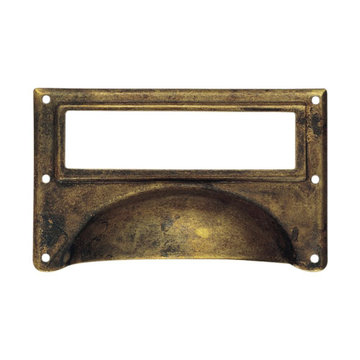 Classic Hardware Schoolhouse Brass Cup Bin Pull Card Holder