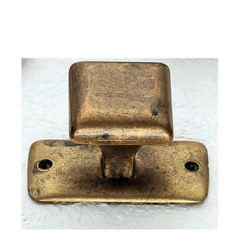 Marella Simple Square Brass Cabinet Knob with Backplate