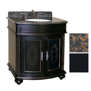 Kaco Arlington 30 Ebony Vanity With Tan Brown Granite Top