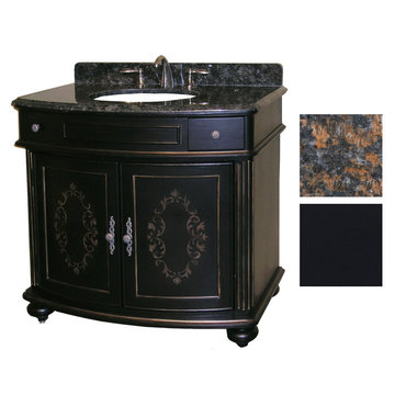 Kaco Arlington 36 Ebony Vanity With Tan Brown Granite Top