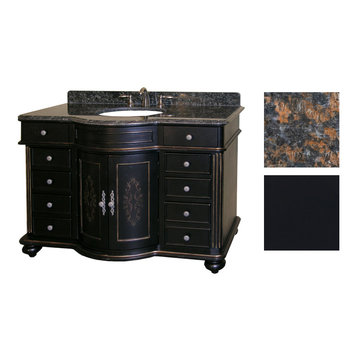 Kaco Arlington 48 Ebony Vanity With Tan Brown Granite Top