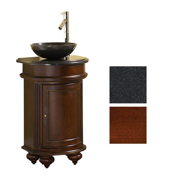 Kaco Arlington Round Cherry Vanity With Black Granite Top And Vessel Sink