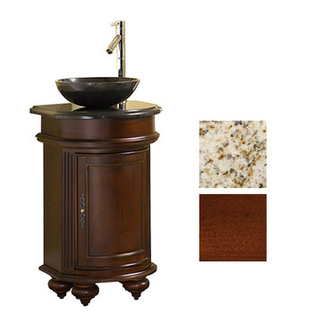 Kaco Arlington Round Cherry Vanity With Gold Hill Granite Top And Vessel Sink
