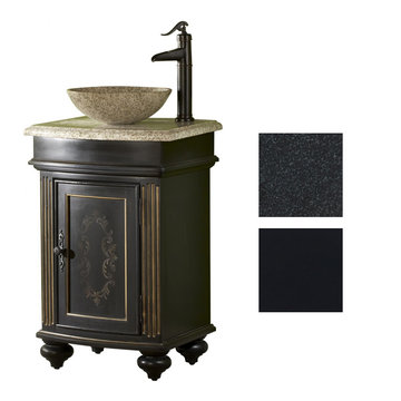 Kaco Arlington Round Ebony Vanity With Black Granite Top And Vessel Sink