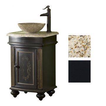 Kaco Arlington Round Ebony Vanity With Gold Hill Granite Top And Vessel Sink