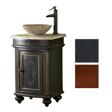 Kaco Arlington Square Cherry Vanity With Black Granite Top And Vessel Sink