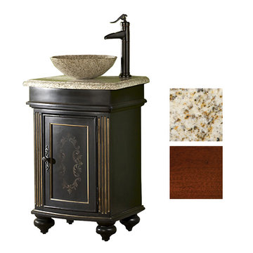 Kaco Arlington Square Cherry Vanity With Gold Hill Granite Top And Vessel Sink