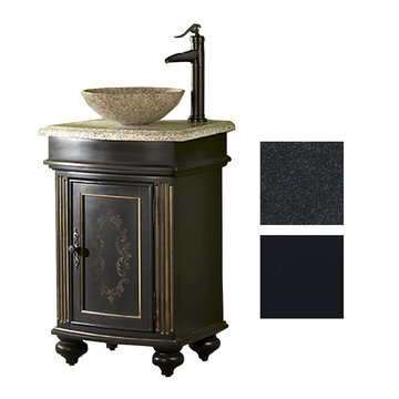 Kaco Arlington Square Ebony Vanity With Black Granite Top And Vessel Sink