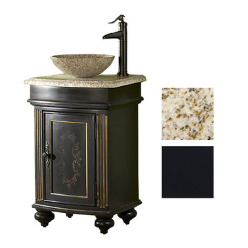 Kaco Arlington Square Ebony Vanity With Gold Hill Granite Top And Vessel Sink