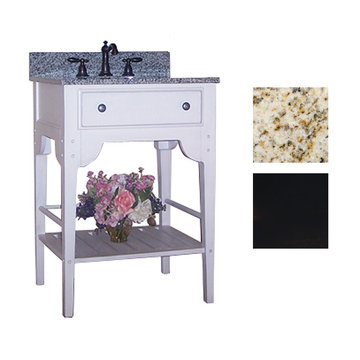 Kaco Dover 24 Black Vanity With Gold Hill Granite Top