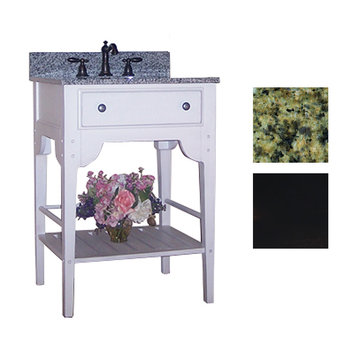 Kaco Dover 24 Black Vanity With Green Granite Top