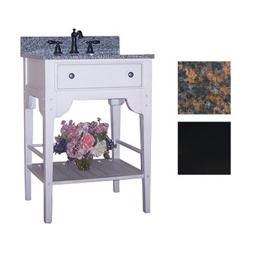 Kaco Dover 24 Black Vanity With Tan Brown Granite Top