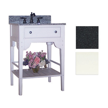 Kaco Dover 24 White Vanity With Black Granite Top