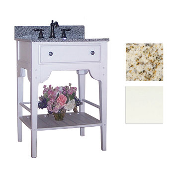 Kaco Dover 24 White Vanity With Gold Hill Granite Top