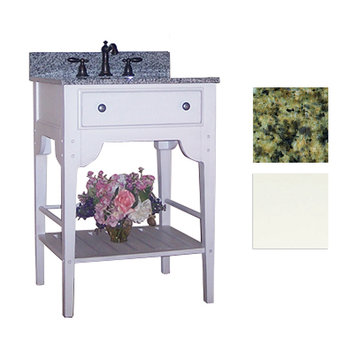 Kaco Dover 24 White Vanity With Green Granite Top
