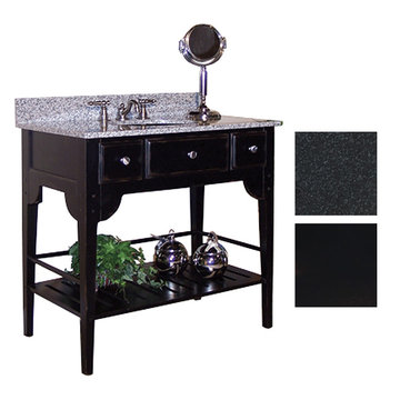 Kaco Dover 30 Black Vanity With Black Granite Top