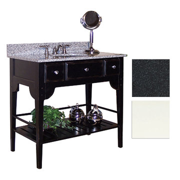 Kaco Dover 30 White Vanity With Black Granite Top