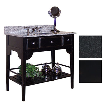 Kaco Dover 36 Black Vanity With Black Granite Top