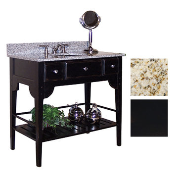 Kaco Dover 36 Black Vanity With Gold Hill Granite Top