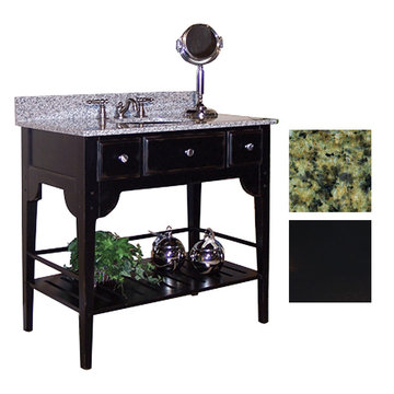 Kaco Dover 36 Black Vanity With Green Granite Top