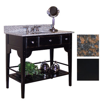 Kaco Dover 36 Black Vanity With Tan Brown Granite Top