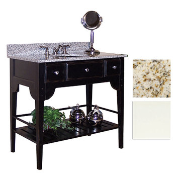 Kaco Dover 36 White Vanity With Gold Hill Granite Top