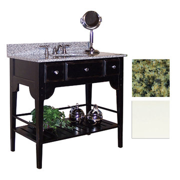 Kaco Dover 36 White Vanity With Green Granite Top