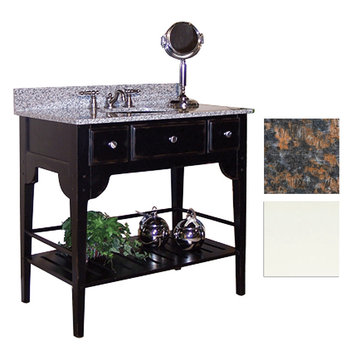 Kaco Dover 36 White Vanity With Tan Brown Granite Top