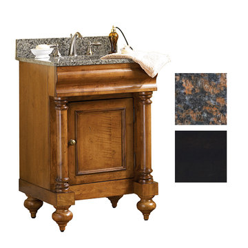 Kaco Guild Hall 24 Black Vanity With Tan Brown Granite Top