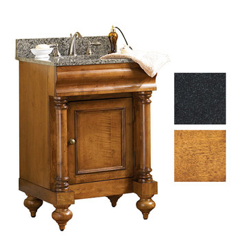Kaco Guild Hall 24 Pecan Vanity With Black Granite Top