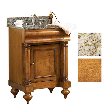 Kaco Guild Hall 24 Pecan Vanity With Gold Hill Granite Top