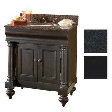 Kaco Guild Hall 30 Black Vanity With Black Granite Top