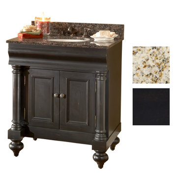 Kaco Guild Hall 30 Black Vanity With Gold Hill Granite Top