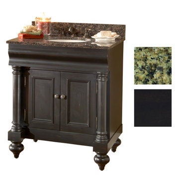 Kaco Guild Hall 30 Black Vanity With Green Granite Top