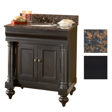 Kaco Guild Hall 30 Black Vanity With Tan Brown Granite Top