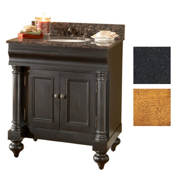 Kaco Guild Hall 30 Pecan Vanity With Black Granite Top