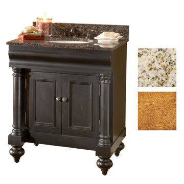 Kaco Guild Hall 30 Pecan Vanity With Gold Hill Granite Top