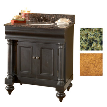 Kaco Guild Hall 30 Pecan Vanity With Green Granite Top