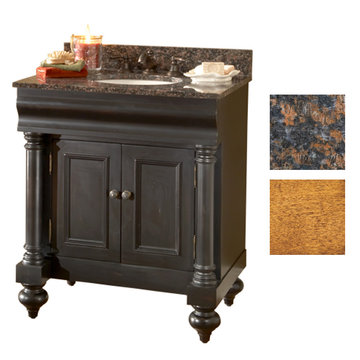 Kaco Guild Hall 30 Pecan Vanity With Tan Brown Granite Top