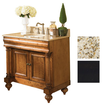 Kaco Guild Hall 36 Black Vanity With Gold Hill Granite Top